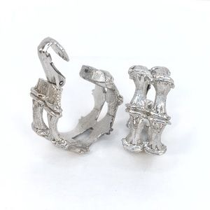CLIPS  Silvertone Hoop Clip Earrings
